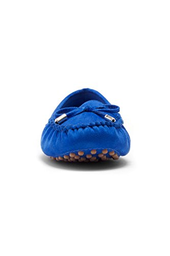 Herstyle Canal bow Royalblue flat Womens with Moccasin tipped metallic rrCUwq45