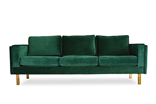 """ALBANY PARK Green Velvet Sofa - 87"""" MidCentury Modern Sofa for Living Room"""