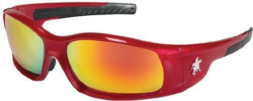 Crews SR13R Swagger Safety Glasses Red with Fire Mirror Lens