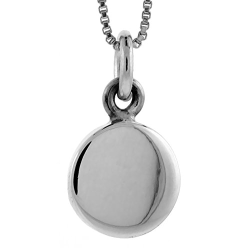 Sterling Silver Small Round Disc Pendant Engravable Handmade, 1/2 inch long (Small Disc Pendant)