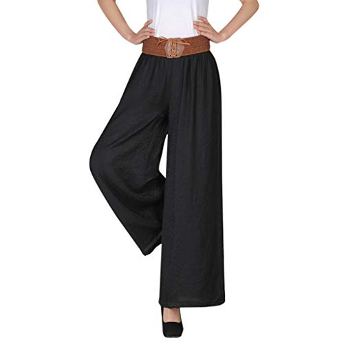 CCatyam Plus Size Pants for Women, Solid Wide Leg Trousers High Waist Belt Linen Loose Casual Black