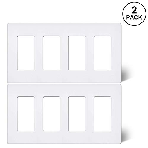 [2 Pack] BESTTEN 4-Gang Screwless Wall Plate, USWP6 Snow White Series, Slightly Larger Size Outlet Cover for Light Switch, Dimmer, USB, GFCI, Decor Receptacle, Residential and Commercial, UL Listed (4 Gang Wall Plate Gfci)