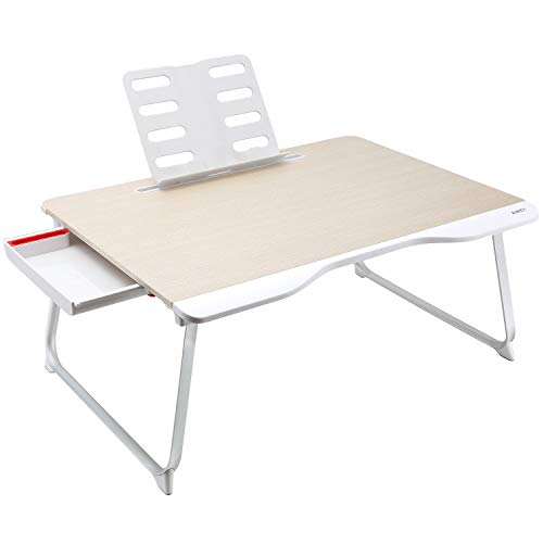 AUKEY Laptop Bed Table (Large Size) Foldable Portable Laptop Stand with Aluminum Alloy Legs, Book Stand and Drawer for Reading, Writing, and - Drawers Bed Pedestal