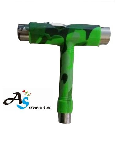 (A&S Creavention® Skateboard T-Tool All in one Screwdriver Socket Multi functions skate tool (Army)