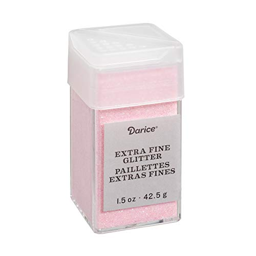 Blush Pink Extra Fine Glitter 1.5 Ounces Canister w/Pour or Shake Lid