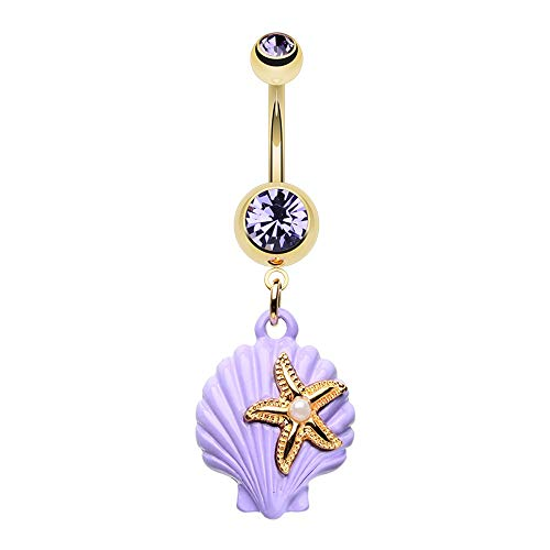 (14 GA Golden Under the Seashell Belly Button Ring 316L Surgical Stainless Steel Body Jewelry Piercing Davana Enterprises)