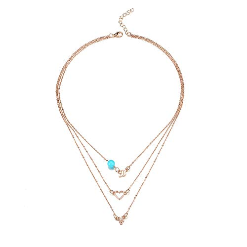 Gold Amethyst Star Pendant - CHoppyWAVE Necklaces Women Fashion Multi-Layer Letters B Y Heart Pendant Chain Necklace Jewelry Gift - Rose Gold