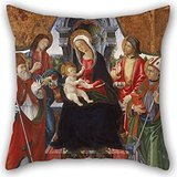 Artistdecor Oil Painting Lucchese School Late 15th Century - Virgin And Child With Saints Nicholas, Sebastian, Roch And Martin Cushion Covers 16 X 16 Inches / 40 By 40 Cm Gift Or Decor For Her,livi