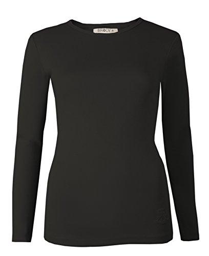 Brody & Co - Camiseta de manga larga, elástica, lisa, cuello redondo, de algodón, de muy buena calidad, para mujer negro