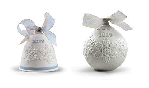 Lladro 2019 Christmas Bell & Ball Set in Blue #18446 & #18443 (Figurines Christmas Lladro)