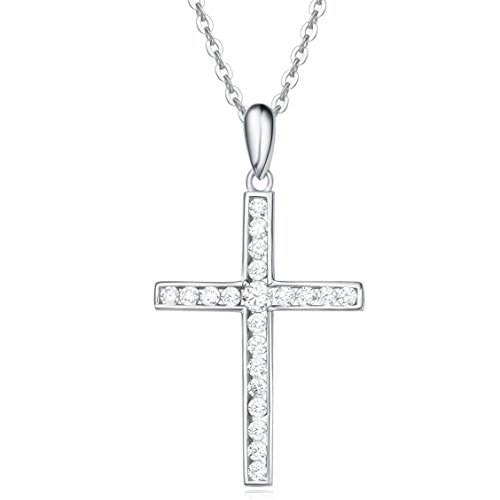 Face Garnet 925 Silver Pendant - Sterling Silver Channel Setting Cubic Zirconia Crucifix Pendant Necklace for Women Girls with 18 Inch Sterling Silver Chain