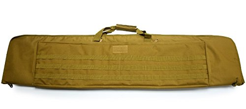 A&N Airsoft Gun Rifle Large Carrying Bag Pack Storage Case Tan 120cm MOLLE w/ Accessory Pouches Webbing Compartments by A&N