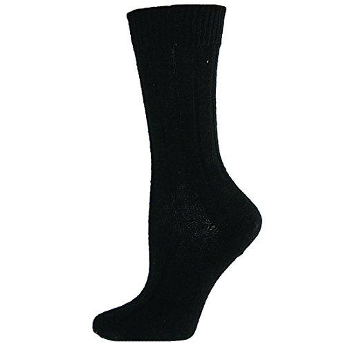 Posh Socks 6x2 Rib Womens Mid-Calf Cashmere Blend Socks (Black - Medium)