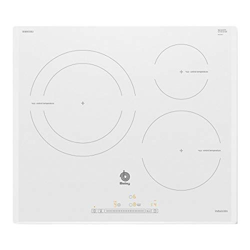 Balay 3EB965BU hobs Blanco Integrado Con - Placa (Blanco, Integrado, Con placa de inducción, Vidrio, 1400 W, Alrededor)