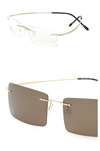 Rimless Titanium Frame Photochromic (light-adjusting) Lenses eyeglasses(Rectangular golden£¬change brown)