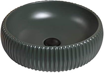 BoPin (タップなし)バスルームの洗面台、ラウンドセラミックカウンター流域緑色技術流域単一流域、2つのサイズの数 ベッセルシンクシンク (Size : 40X40X13cm)
