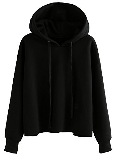 Drawstring Fleece Pullover (ROMWE Women's Drawstring Raw Hem Sweatshirt Fleece Pullover Hoodie Black M)