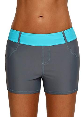 Dearlove Womens Color Block Waistband Board Shorts Swim Trunks Tankini Bottoms Boyshort Swimsuit Panty with Pockets Green M 8 10