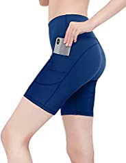 CAMBIVO Women's Biker Shorts Yoga Workout Running Shorts with Side Pockets Tummy Control Athletic Shorts H