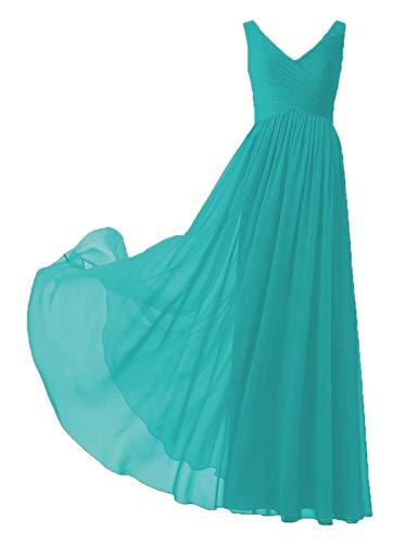 EDressy V-Neck Chiffon Bridesmaid Dresses Long Evening Gowns Prom Party Dress Plus Size Maxi Sleeveless Jade US24W