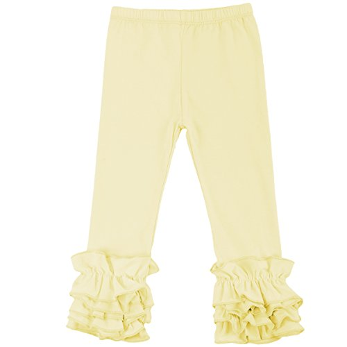 Little Girl's Double Icing Ruffle Leggings Long Pants Cotton Christmas Boutique Ankle Length Elastic Waist Footless Tights Slacks Joggers Activewear Birthday Party Outfits Yellow