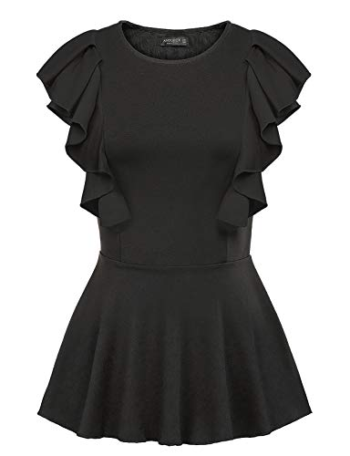 Women Peplum Shirt Summer Sleeveless Solid Slim Fit Ruffle Blouse Tops Black S