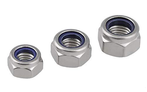 (100Pcs M2 M2.5 M3 M4 M5 M6 M8 M10 Stainless Steel Nylon Lock Nut Self Locking Hex Nuts Nylon Insert Jam Stop Nut M5)
