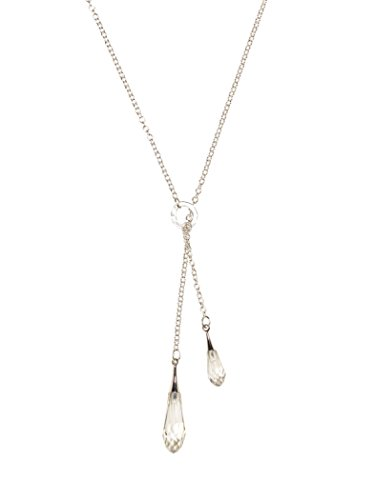 Crystal Swarovski Lariat Necklace (Holly Yashi Rain Drop Lariat Necklace, Hypoallergenic Jewelry, Made in California (Grey/Silver))