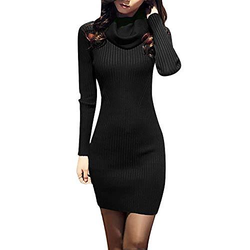 REYO Women's Elegant Long Sleeve Cowl Neck Knit Stretchable Elasticity Slim Fit Sweater Dress