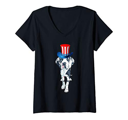 Womens Uncle Sam Hat Great Danes 4th of July American Flag V-Neck T-Shirt]()