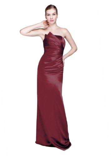 *Maillsa Satin Strapless Bridesmaid Dress Prom Dress MS13B0002 (US 4, Burgundy)