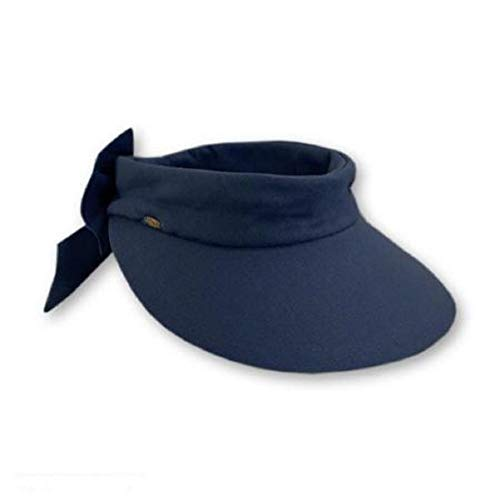 Scala Women's Deluxe Big Brim Cotton Visor with Bow, Navy, One Size ()