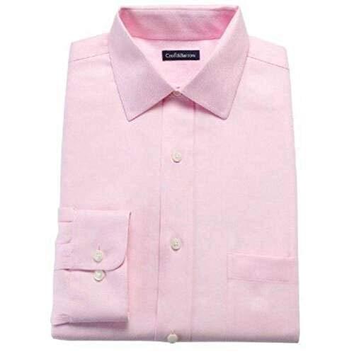 Croft & Barrow Mens Long Sleeve Point Collar Button Up Classic Dress Shirt (Light Pink, 15 32/33)