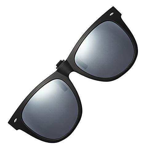 (Polarized Clip-on Sunglasses Unisex Anti-Glare Driving Sunglasses With Flip Up for Prescription Glasses (ROUND-SILVER))