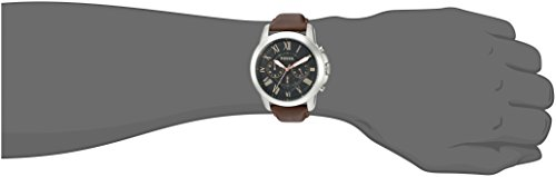 Fossil Men's FS4813 Grant Stainless Steel Watch with Brown Leather Band