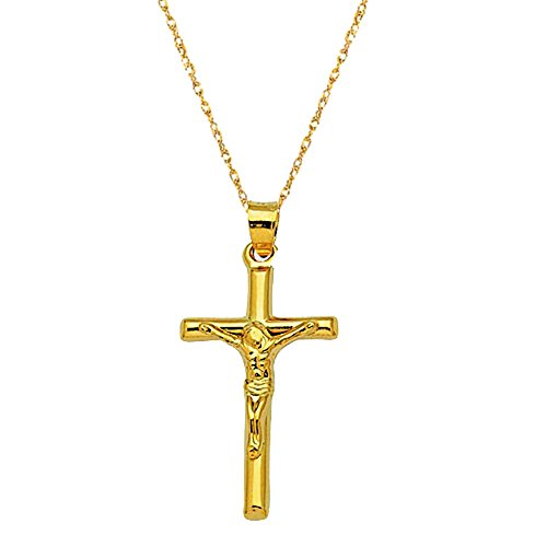 (Children's 14k Yellow Gold Tubular Baby Crucifix Cross Pendant Necklace 16 Inches)