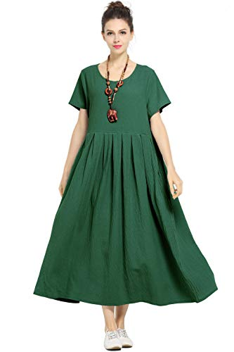 (Anysize Soft Linen Cotton Loose Spring Summer Dress Plus Size Dress F122A)