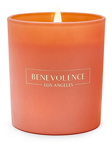 Benevolence LA Scented Candles Aromatherapy - All Natural Soy Wax Strong Fragrance of Rose Sandalwood Jasmine Bergamot with Matte Black Glass Gift Boxed (Orange Blossom -