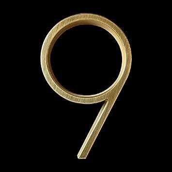 Hausnummer edelstahl 12cm Schwimm Modern House Anzahl Goldenes Satin Brass Door Home Adresse Zahlen for Haus Au/ßenschild Platten 5 Zoll 0-9 Color : 0