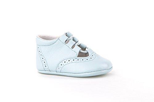 Patucos Inglesitos para Bebé Todo Piel, mod.256. Calzado infantil Made in Spain, Garantia de calidad. Azul Celeste
