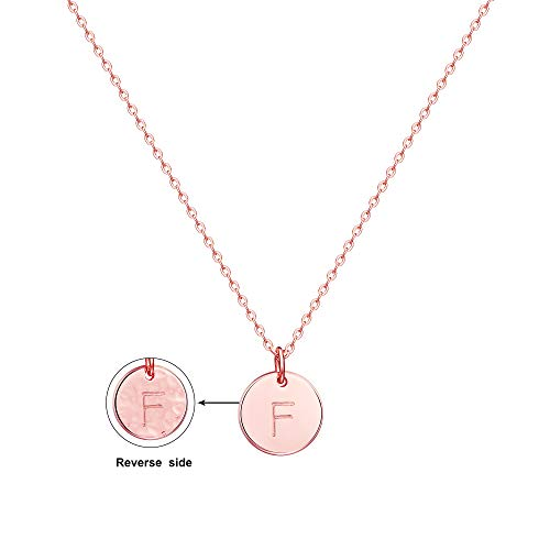 Befettly Initial Necklace,14K Rose Gold-Plated Children Necklace Round Disc Double Side Engraved Hammered Name Necklace 16.5