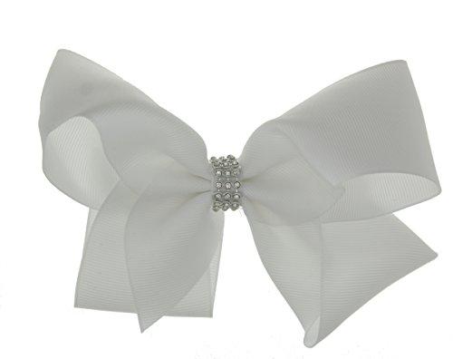 Girls Boutique Big Fashion Hair Bow Diamante Band Dance School Accessory-White