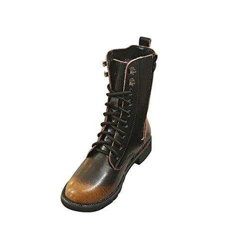 LvRao Mujer vintage botas de invierno cuero de botines con cordones botitas de militares botas de piel planos para femeninos Marrón Forrado