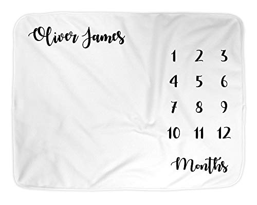 Play Personalized Growth Chart - Baby Monthly Milestone Blanket Girl or Boy, Large 50x40 Plush Fleece Photo Newborn Blanket, Infant Month Blanket, Gender Neutral Newborn Photography, Best Baby Shower Gift for New Moms (Black White)