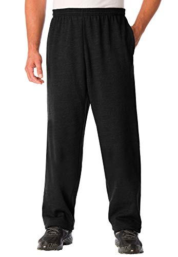 KingSize Men's Big & Tall Fleece Open-Bottom Sweatpants, Black Tall-XL