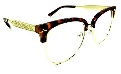 Horn Rimmed Clubmaster Half Frame Metal & Plastic Eyeglasses / Clear Lens Sunglasses (Brown Totoise & Gold Frame, - Frames Eyeglass Luxe