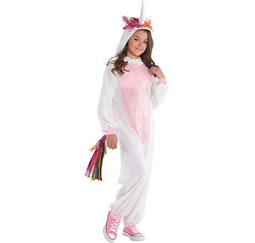 Amscan Unicorn Zipster Halloween Costume for Girls, Medium, with Attached Hood and Tail