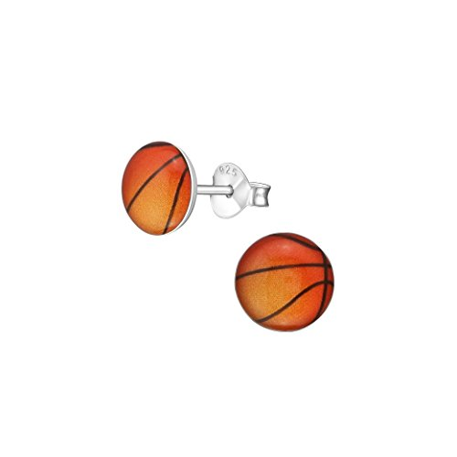 Liara - Children'S Basketball Ear Studs Sterling Silver 925. Polished And Nickel Free -