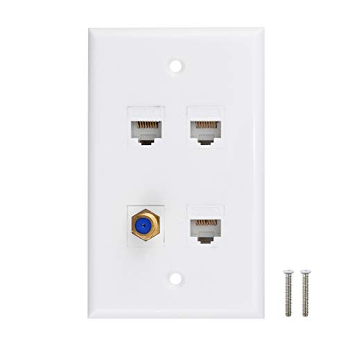 Ethernet Coax Wall Plate, 3 Port Cat6 Keystone Female to Female, 1 Port F Type Connector Coax Keystone Female to Female Wall Plate - White