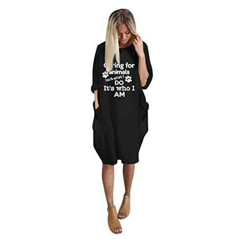 Spring Color  Women's Casual Letter Print Loose Long Sleeve o Neck Tops Blouse Plus Size Dress with Pocket Black -